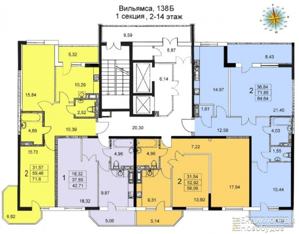 Планировки однокомнатных квартир 42 м^2